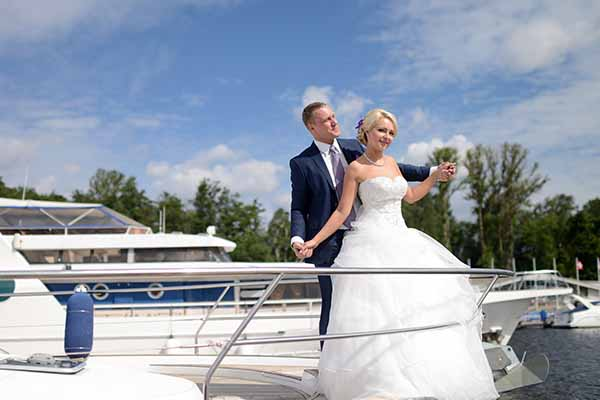 Just married and taking a yacht cruise on Lake Michigan