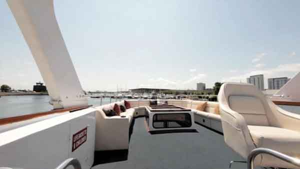 The top deck of the Sophisticated Lady yacht charter