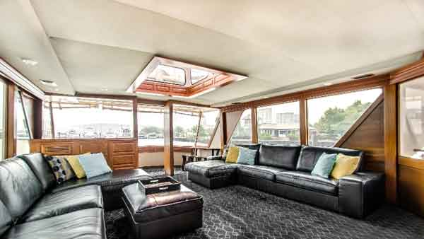 Lower deck of the Sophisticated Lady yacht has leather couches