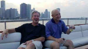 Two men on a charter yacht in Chicago IL