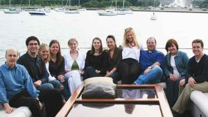 Men and women on board the Sophisticated Lady Yacht Charter