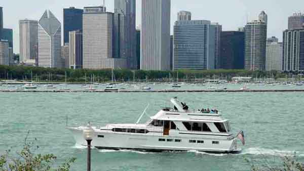 A charter yacht cruising Lake Michigan in Chicago IL