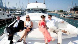 Wedding guests on a Chicago charter yacht