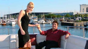 Wedding guests on a charter yacht in Lake Michigan