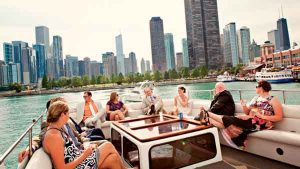 Wedding guests enjoying themselves on a charter yacht in Chicago IL