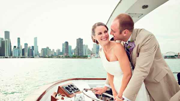 A wedding couple on a charter yacht in Chicago IL