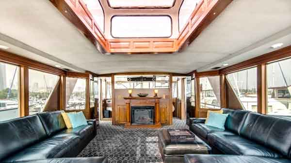 a central view of the fire place on board a yacht in Chicago IL