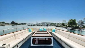 Top deck of the Sophisticated Lady yacht charter
